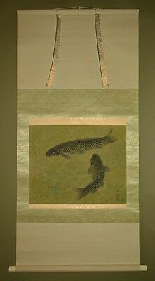 Hanging Scroll Picture Japanese Painting Carp Japan Antique Art ink Pic Old a156