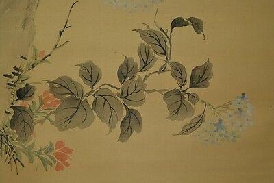 Hanging Scroll Japanese Painting Flower 小華 渡辺 Asian Art Japan ink Picture u11