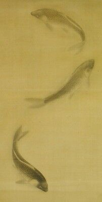 Hanging Scroll Japanese Painting Carp Ink Asian Antique Japan art Picture a869
