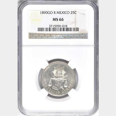 1890 GO R Mexico 25 Centavos, NGC MS 66, None Finer @ NGC, Superb