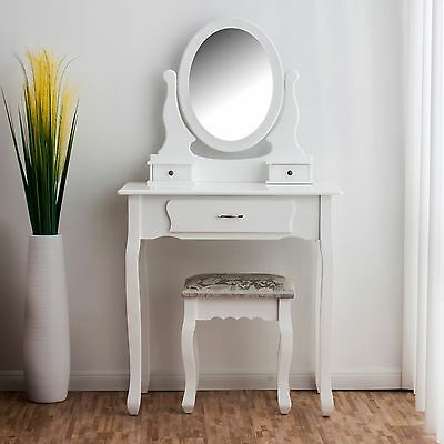 CTF Wood Dressing Table 3-Drawer Makeup Dresser Set with Stool Oval Mirror