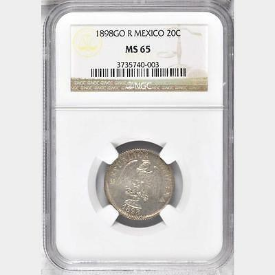 1898 GO R Mexico 20 Centavos, NGC MS 65, 1 Finer @ NGC