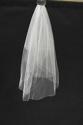 Wedding veil on hair silde comb with iridescent rhinestone edging net white