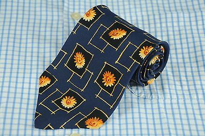 Hugo Boss Men's Tie Navy & Gold Box Floral Geometric Silk Necktie