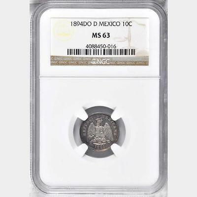 1894 DO D Mexico 10 Centavos, NGC MS 63, 1 Finer @ NGC, Scarce Do D Mint