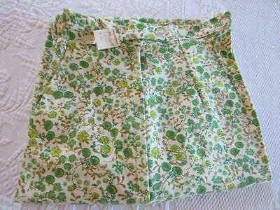 RETRO Girls Vintage 1960s FLORAL Cotton Pleated SKINNY Pants Size 10 w/Tags