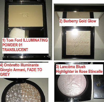 Illuminanti, illuminating powder:1)Tom Ford 01 2) Burberry 3) Lancom 4) Arman