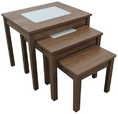 Ashcraft Furniture 3 Piece Nest of Tables with Milky Glass, Walnut