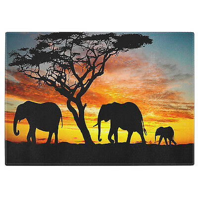 Elephants Tempered Glass Chopping Board