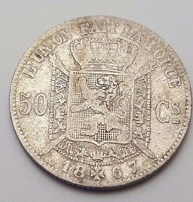 Dated : 1867 - Belgium - 50 Centimes - Leopold I - Coin