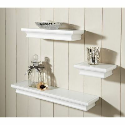 White Set Of 3 Wood Effect Floating Shelves Vintage Style Storage Display Wall