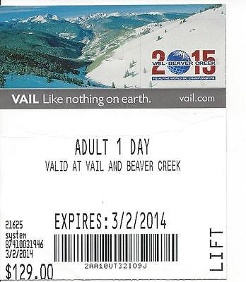 Used Vail and Beaver Creek Ski Area Lift Ticket 3/2/2014