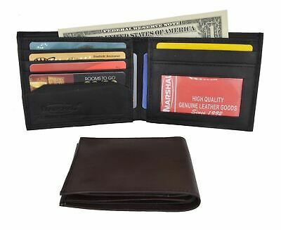 New Men's Genuine Leather Slim Thin Bifold ID Card Holder Wallet Black Brown