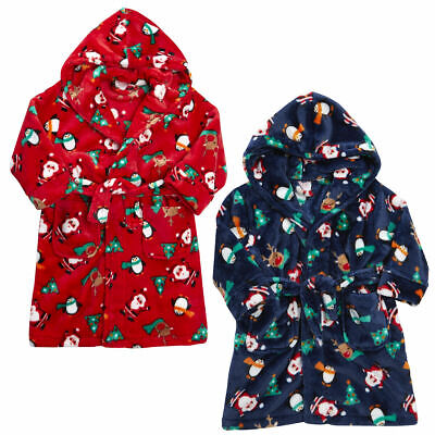 Infants Children's Boys Christmas Robe Dressing Gown Novelty Xmas Fleece Flannel