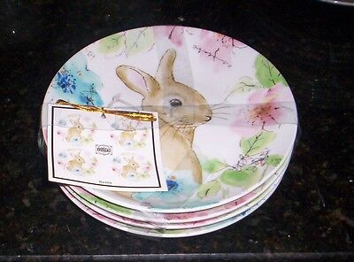 222 Fifth  Bastia Canape Appetizer Party Plates NWT S/4 Bunny Rabbits AS-IS