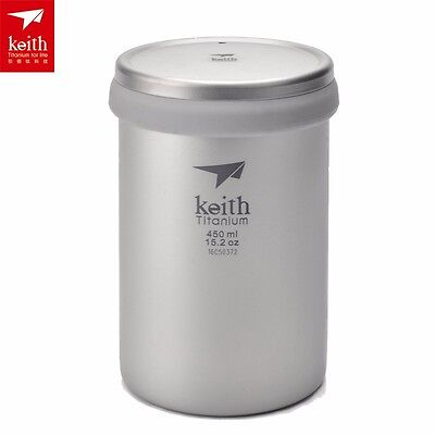 Keith 450ML Double Wall Titanium Coffee Mug Camping Tea Cup With Lid Travel Mug