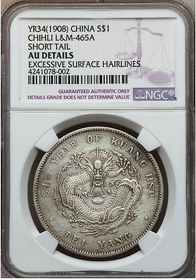 Chihli Dollar Year 34 (1908) NGC AU Details (Excessive Surface Hairlines)