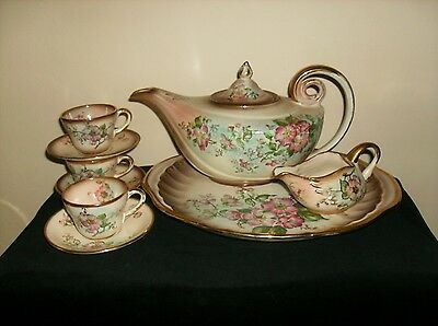 Antique Rochelle China Teapot Set,Hand Painted Famille Roses,Victorian,Cottage
