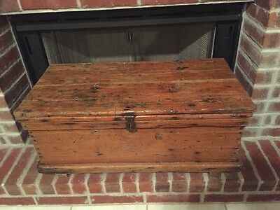 Antique Wood Blanket Box Dovetailed Hope Chest Trunk Primitive Storage