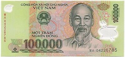 1 X 100,000 Vietnamese Dong Bank Note Nice, Crisp in Collectible Currency Holder