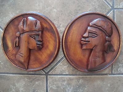 Vintage Set 2 Hand Carved Wood African Head Wall Decor Plaque Tribal Folk Art