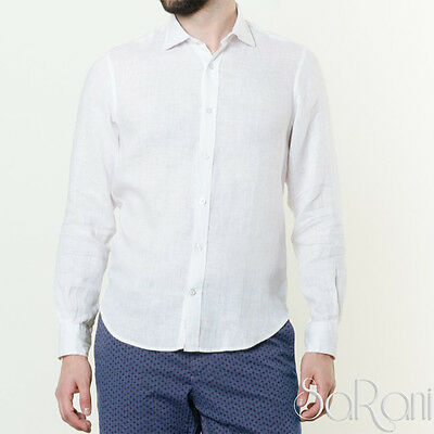 Camicia Uomo Casual Lino Bianca Manica Lunga Con Colletto Regular Fit SARANI
