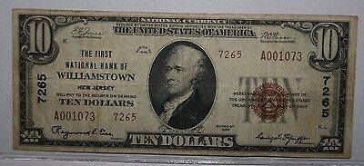 1929 $10 National Currency Williamstown New Jersey Note RARE