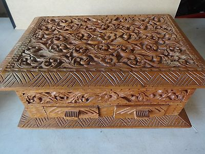 Large Antique Vtg Asian Carved Wood Box Jewelry