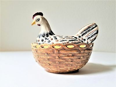 Vintage Porcelain Covered Hen on Nest Basket Italian Hand Painted Dish Small