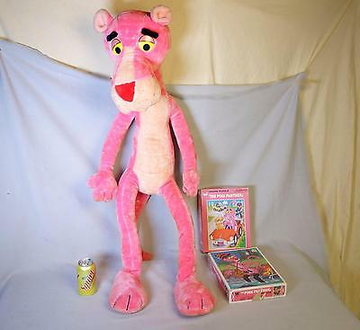 """Vintage 1980 Mighty Star 42"""" Stuffed PINK PANTHER Posable Plush Doll & 2 Puzzles"""