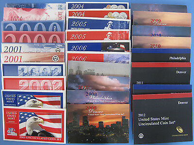 1999 - 2017 Complete Run of 19 Government Issued Mint Uncirculated Coin Sets