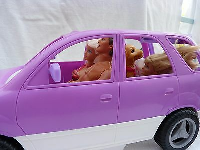 Barbie Doll Jeep With Picnic Boot & 3 Barbie Dolls & Dog Toy Bundle