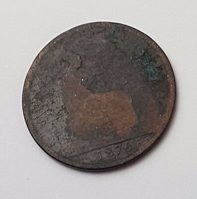 1876 - Copper - Halfpenny - Great Britain - Queen Victoria - English UK Coin