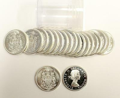 20x 1964 Canada Silver 50 Cents Half Dollars Choice Brilliant Uncirculated MS63+