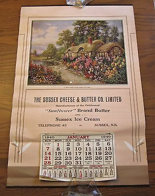 Stunning 1940 Sussex Cheese & Butter Company Calendar New Brunswick Ice Cream