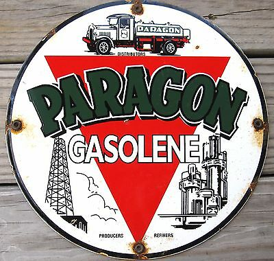 Paragon Gasolene Porcelain Enamel Gas Pump Oil Gasoline Lubester Metal Sign