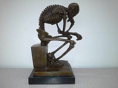 Signed Milo Bronze Statue -  Skeleton  The Thinker sculpture in style of Rodin