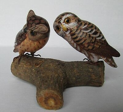 Vintage Wood Hand Carved & Painted Owl Bird Figures Glass Eyes