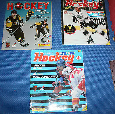 Panini Hockey 90-91, 88-89, and 89-90 Sticker Album Partially Complete