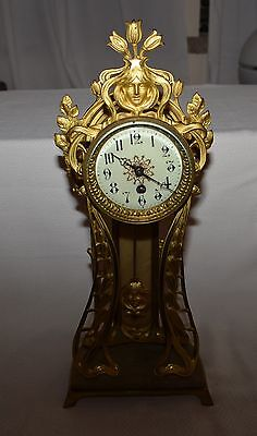 1910 Magnificent French Gilt Bronze Mantel Clock Porcelain Dial Secession Style