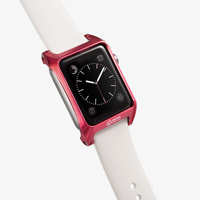 design slim bumper case aluminum red for Apple Watch 42mm Woven Nylon Band