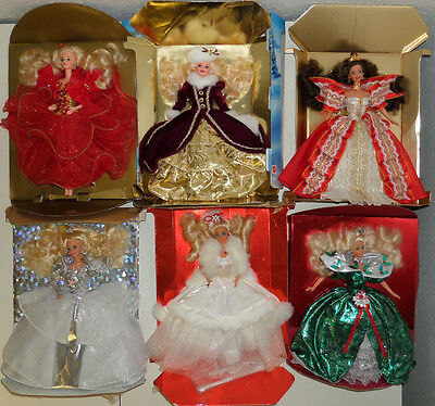 6 Happy Holidays Barbie Special Edition 1989 1991 1992 1993 1996 1997 Collection