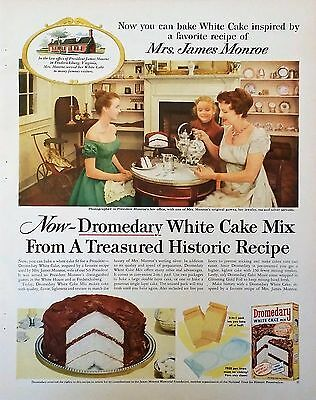 Vintage 1956 DROMEDARY CAKE JAMES MONROE VIRGINIA kitchen baking Print Ad