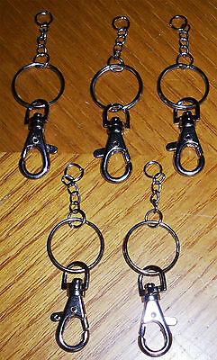5 Lobster Clasp Keyrings And Chain Plain, Scalloped Select Your Type