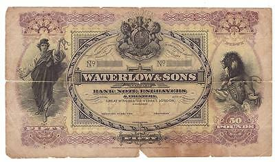 C: 1890s Waterlow & Sons 50 Pound Specimen Advertising Banknote VG10 tears