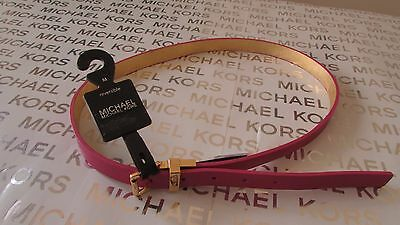 NWT Michael Kors Women's Leather Reversible Belt Medium Size Pink / Gold