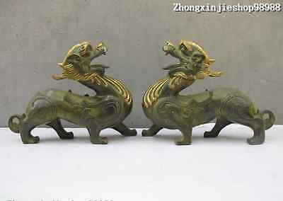 China Folk Bronze gilt Carved Luckly Dragon Kylin Guardian Lion statue Pair