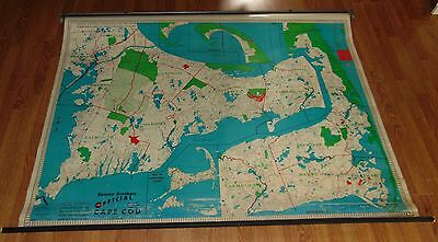 Huge! VINTAGE C1940'S Wall Map CAPE COD Mass HEARNE BROTHERS