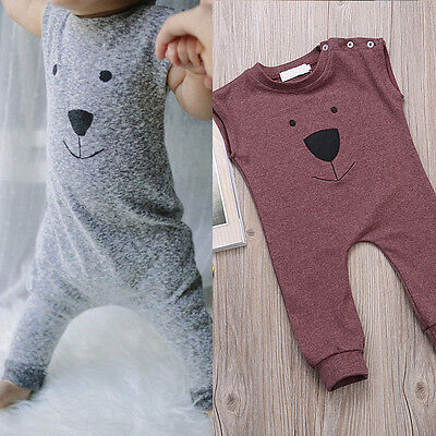 Cute Bear Baby Boys Summer Clothes Sleeveless Bodysuit Romper Jumpsuit Outfits