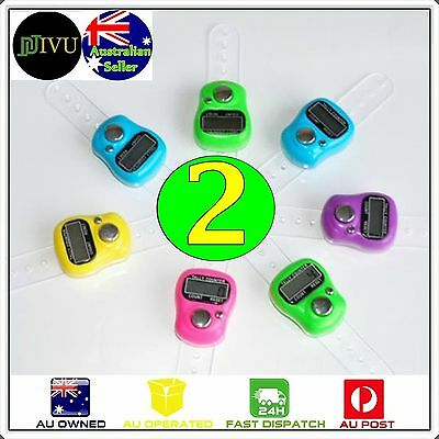 2 X Mini Digit LCD Electronic Digital Golf Finger Hand Held Tally Ring Counter